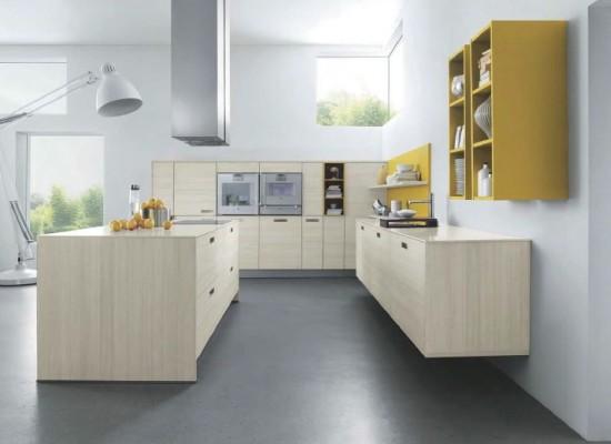 Moderní Kuchyně A žluté Retro Styl A Interier